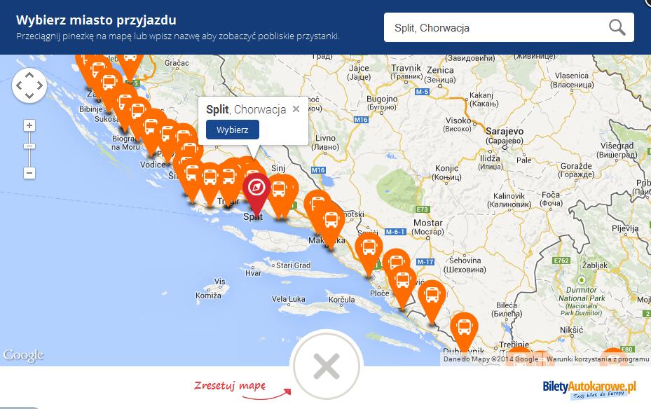 BiletyAutokarowePL - przystanki w Chorwacji