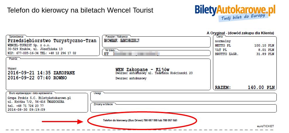 Telefon do kierowcy autokaru Wencel Tourist